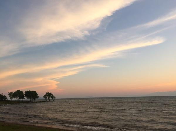 空グラデーション綺麗夕日青琵琶湖滋賀