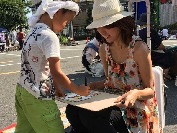 イベント守口夏8月筆文字筆ペン笑顔写真
