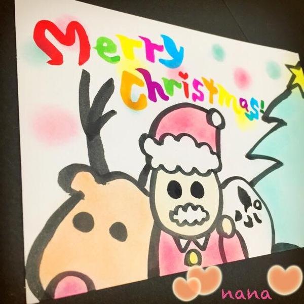 クリスマスカードサンタさん筆文字